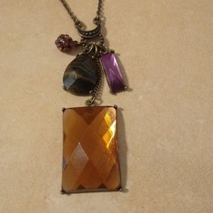 Vintage Orange Stone Fall Autumn Necklace